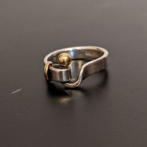 Tiffany & Co Sterling Silver/18k Gold Buckle Ring